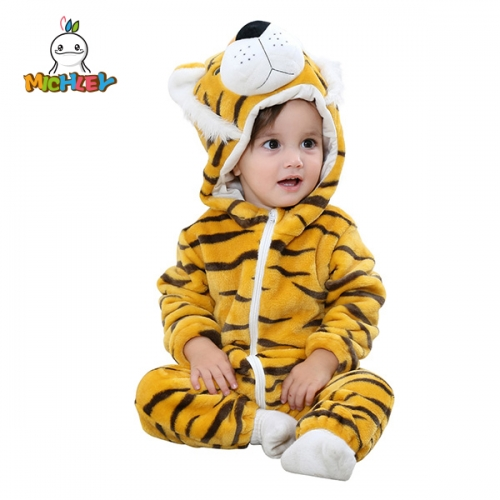 MICHLEY Tiger Costume Cosplay Animal Baby Romper Baby Jumpsuit Outfit Hoody Coat Winter Infant Rompers Toddler Clothing Bodysuit