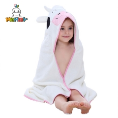 MICHLEY Baby Hooded Towel Cow Baby Towels for Baby 35.5×35 .5 Inches  Baby Bath Towel for Infant Toddler Baby Girl Shower Gift Photo Shoot Props