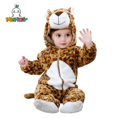 MICHLEY Leopard Unisex-Baby Animal Onesie Costume Cartoon Outfit Hooded Fleece Romper for Baby Girls Boys Cartoon Animal Fox Jumpsuit