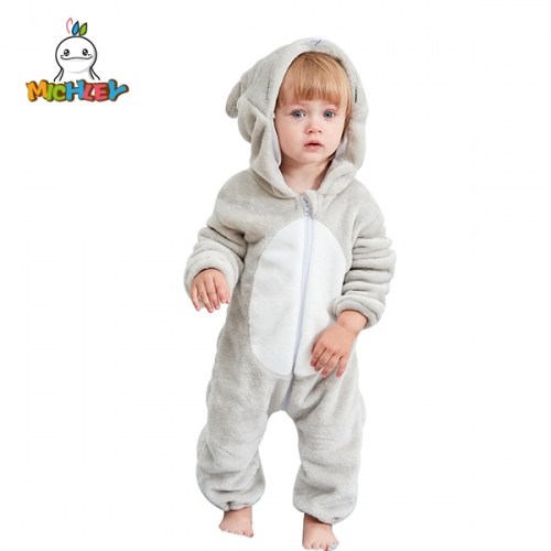 MICHLEY New mouse Baby Hooded Romper Winter Autumn Flannel Style Cosplay Clothes