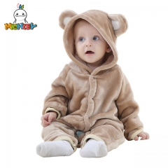 MICHLEY Unisex Baby Flannel Romper Animal Onesie Costume Hooded Cartoon Outfit Suit
