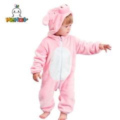 MICHLEY Baby Costume, Animal Cosplay Pajamas for Girl Winter Flannel Romper Outfit 2T, Colorful One Piece