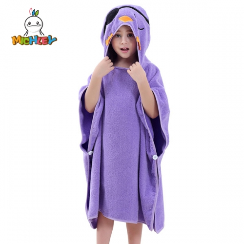 MICHLEY Cartoon Cloak Kids Animal Face Hooded Bathrobe Towel Quick Dry Swim Bath Cloak For 0-6 Years old