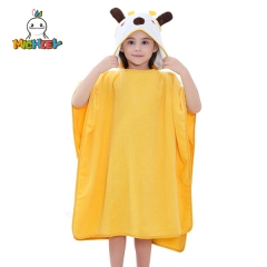 MICHLEY Baby Hooded Bathrobe Yellow Giraffe Gifts for Kids - Newborns to Toddlers - Large 35.5 x 35.5 inches - Yellow,