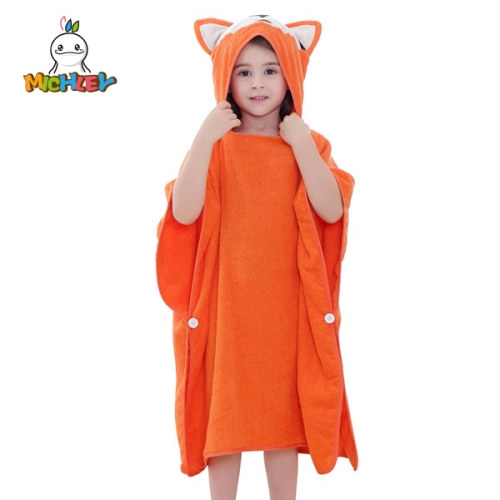 MICHLEY Hooded Fox Bath Towel for Girls Kids, 100% Cotton Quick Dry Absortbent Soft Beach Bathrobe for Children Toddlers
