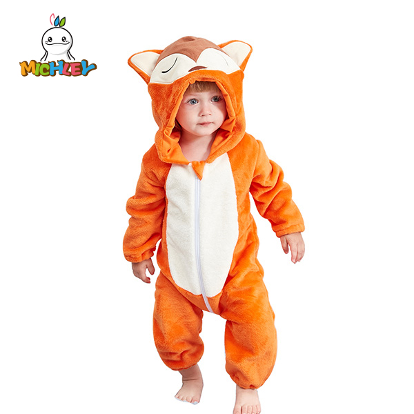 cd57c6348ef6 Fox Baby Hooded Romper Winter Autumn Flannel Style Cosplay Clothes