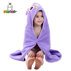 MICHLEY  Hooded Towel for Kids |Owl Design | Ultra Soft and Extra Large | 100% Cotton Bath Towel with Hood for Girls and Boys