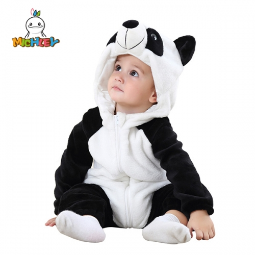 MICHLEY Baby Costume, Panda Cosplay Pajamas for Boy Winter Flannel Romper Outfit 2T, Colorful One Piece