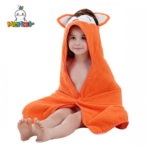 MICHLEY Baby Unisex Baby Animal Face Hooded Towel, Pretty Fox 1-Pack