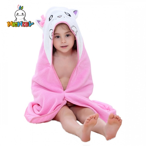 MICHLEY Hooded Baby Towel | Pink Cat Design | Baby Towels with Hood for Newborn, Infant  Girls Suitable as Baby Gifts
