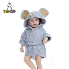 MICHLEY 100% Cotton Hooded Terry Bathrobe , Baby Unisex Baby Plush Animal Face Robe