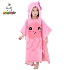 MICHLEY Pink Jellyfish Printed Children's Bathrobe for Girls,Kids Bath Towels for Travel,Absorbent High Quality Children's Bathrobe(1-6 Years)