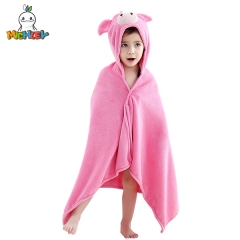 MICHLEY Pink Pig Children's Bathrobe,Absorbent High Quality Kids Hooded Bath Towels,Suitable for Little Girl Robes