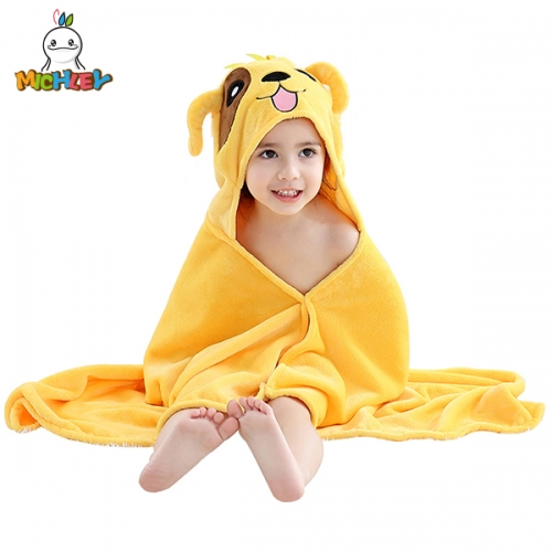 MICHLEY Yellow Puppy Cartoon Children's Bathrobe,Super Soft Beach Towel Quality Baby Poncho,Great Present for Kids