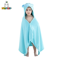 MICHLEY Blue Cute Hippo Kids Bath Towel,Warm and Breathable Baby Bathrobe,The Perfect Gift for Toddler,Suitable for Boys or Girls Aged 0-6
