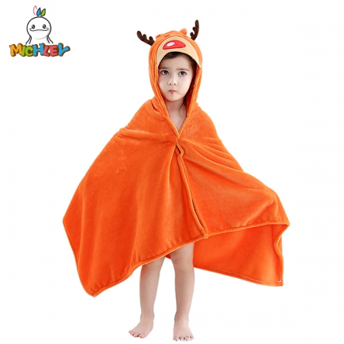 MICHLEY Orange Toddlers Bathrobe Hooded Towels for Kids,Cute Elk Cartoon Baby Poncho,Super Soft Quality Kids Beach Towels