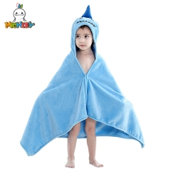 MICHLEY Baby Unisex Hooded Bath Robe Cute Shark Cartoon Bath Towel for Toddlers Ultra Soft Super Absorbent Baby Poncho