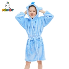 MICHLEY Kids Bath Towels for Travel,Blue Elephant Printed Children's Bathrobe,Super Soft Baby Towels and Washcloths for Boys or Girls