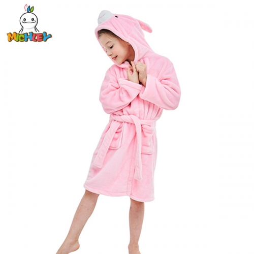 MICHLEY Children's Hooded Bath Towel, Super Soft Beach Towel Quality Kids Poncho,Cute Rabbit Cartoon Print, Suitable for Girls