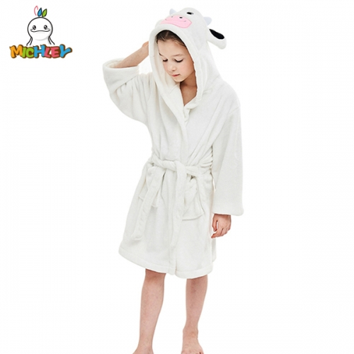 MICHLEY Children's Towels Absorbent High Quality,Kids Little Boys Girls Coral Fleece Bathrobe Unisex Kids Robe Pajamas Sleepwear