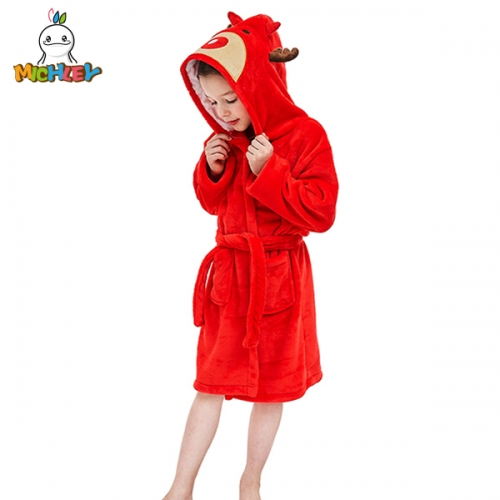 MICHLEY Luxury Children's Hooded Beach Towels,Pajama Selections Girls Robe, Kids Hooded Cotton Terry Bathrobe