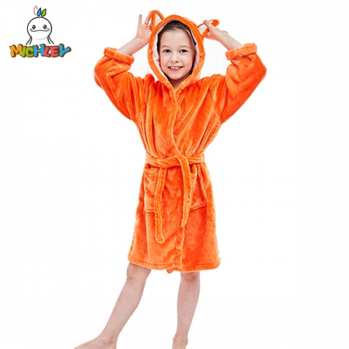 MICHLEY Bathrobes Hooded Sleepwear for Kids,Ultra Soft Plush Shawl Robes for Girls, Super Soft Quality Pajamas