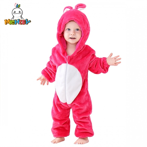 MICHLEY Unisex Baby Animal Costume Winter Autumn Flannel Hooded Romper Cosplay Girls Jumpsuit Rabbit
