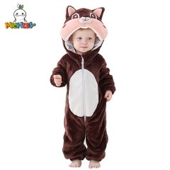 MICHLEY Newborn Baby Animal Rompers Winter Autumn Flannel Clothes Boys Hooded Jumpsuites Cosplay Garment Squirrel