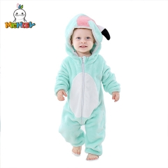 MICHLEY Unisex Baby Animal Costume Winter Autumn Flannel Hooded Romper Cosplay Boys Jumpsuit Blue Flamingo