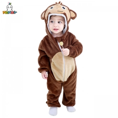 MICHLEY Neonatal Brown Conjoined Crawling Clothes for Boys and Girls Breathable and Capped Household Clothes Autumn and Winter Cartoon Monkey Flannel