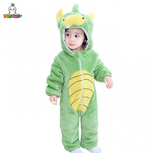 MICHLEY 0-2-Year-Old Children's Cartoon Dinosaur Pyjamas Boys and Girls Costume With Caps Cosplay Pyjamas For Children in Autumn and Winter