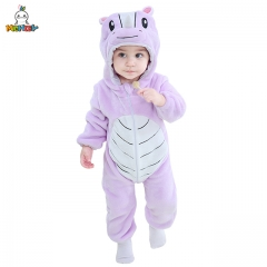 MICHLEY Neonatal Cartoon Rhino Costume for Girls Purple Hooded Pyjamas for Children Cosplay Home Clothes in Autumn and Winter