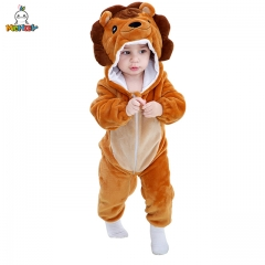 MICHLEY Children's Autumn And Winter Cartoon Lion Conjoined Rompers For Boys And Girls Brown Capped Pajamas For Children's Animal Household