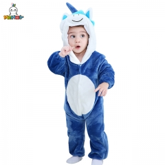 MICHLEY Neonatal Cartoon Blue Unicorn Home Clothing for Boys and Girls Conjoined Home Clothing for Children Flannel Jumpsuits in Autumn and Winter