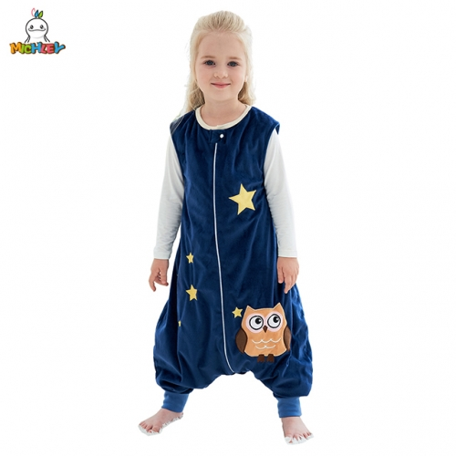 MICHLEY New Blue Owl Sleeping Bag,a Cotton-Only Detachable Sleeveless,Split Leg Sleeping Bag,Split Leg Children's Anti-Kick. Sleeping Bag,a Cotton-Onl