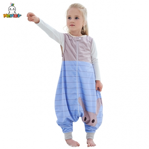 MICHLEY Sleeveless Cartoon Children's Nightwear Spring, Summer and Autumn Universal New Blue Rabbit Kick-Proof Sleeping Bag