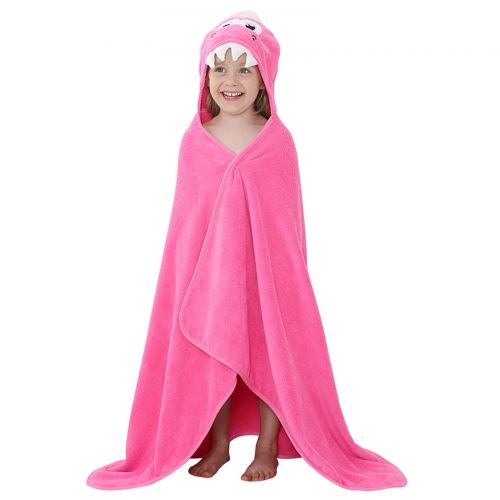 Michley Pink Dinosaur Christmas Gift Beach And Homeuse Kids Hooded Towel