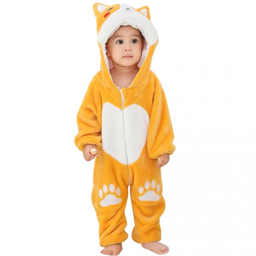 Michley Yellow Dog One-Piece Zipper Cartoon Boys Girls Baby Rompers